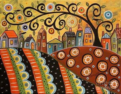 Abstract Pattern Painting - Sunny Landscape by Karla Gerard