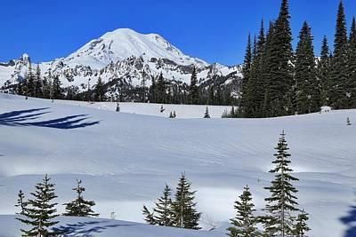 Mountain Range With Evergreens Photograph - Sunny Morning With Mount Rainier by Lynn Hopwood