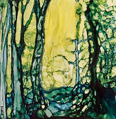 Alcohol Ink Painting - Sunny Path In The Forest by Joanne Smoley