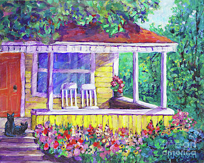 Porch Painting - Sunny Porch By Peggy Johnson by Peggy Johnson