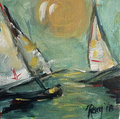 Transportation Painting - Sunny Sails by Roxy Rich