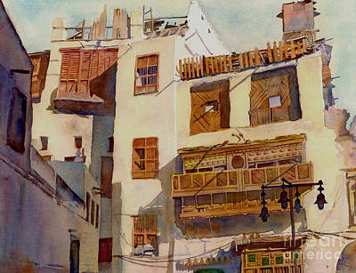 Souq Painting - Sunny Shutters Arabia by Dorothy Boyer