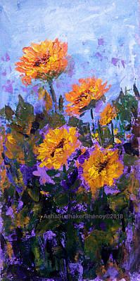 Painting - Sunny Sunflowers by Asha Sudhaker Shenoy