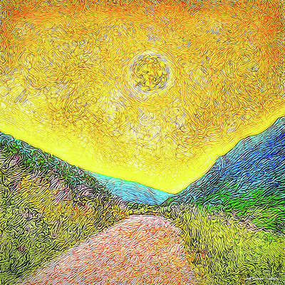 Art Print featuring the digital art Sunny Trail - Marin California by Joel Bruce Wallach