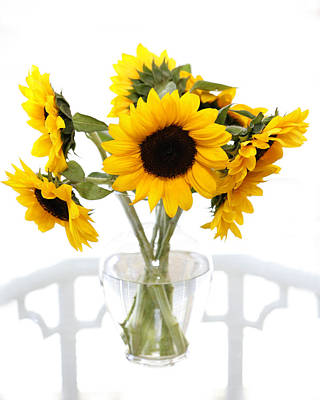 Photograph - Sunny Vase Of Sunflowers by Marilyn Hunt