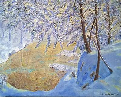 Snowy Day Painting - Sunny Winter Day Modern Oil Painting by Katerina Iourashevich Ricci