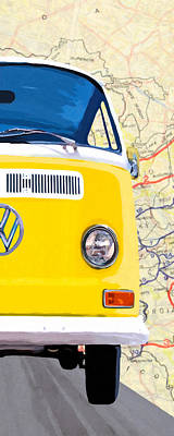 Mixed Media - Sunny Yellow Vw Bus - Right by Mark Tisdale