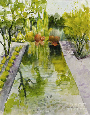 Infinity Pool Painting - Infinity Pool In The Gardens At Annenburg Estate by Maria Hunt
