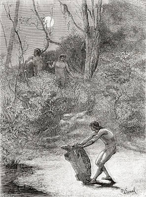 Turtle Drawing - Sunos Indians Hunting Freshwater by Vintage Design Pics