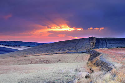 Sunrays After The Storm At Sunset Art Print