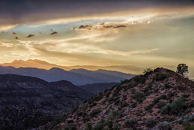 Photograph - Sunrays Over Four Peaks At Sunset In Central Arizona by Dave Dilli