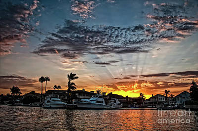 Photograph - Sunrays Over Huntington Harbour by Peter Dang
