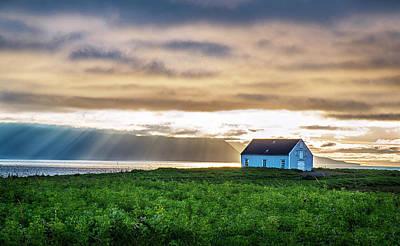 Photograph - Sunrays Over Huskavik Iceland by Dave Dilli