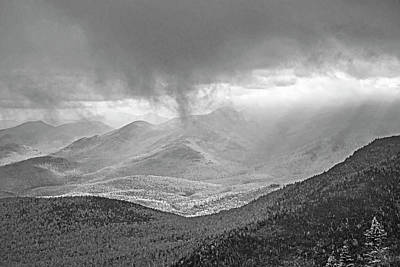 Photograph - Sunrays Over The Adirondacks From Little Rpr Keene Valley Ny Black And White by Toby McGuire