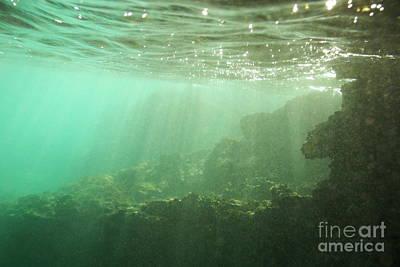 Sunrays Penetrating Underwater Cave Art Print by Sami Sarkis