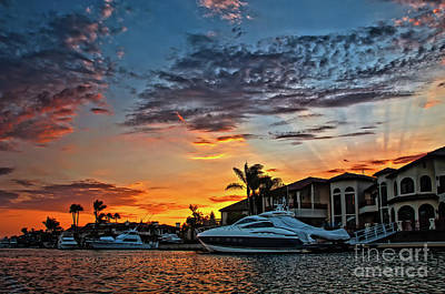 Photograph - Sunrays Sunset Over Huntington Harbour by Peter Dang
