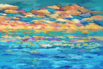 Bold Abstact Painting - Sunrise After Storm by Jeannie Fafoutis