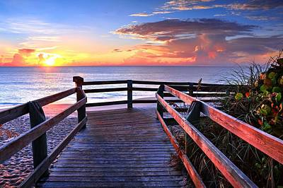 Photograph - Sunrise Along The Boardwalk  by Carol Montoya