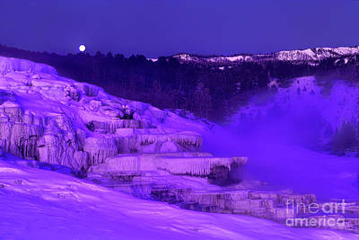 Art Print featuring the photograph Sunrise And Moonset Over Minerva Springs Yellowstone National Park by Dave Welling
