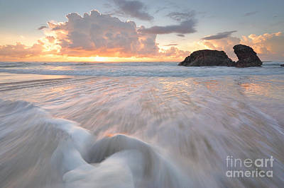 Port Macquarie Photograph - Sunrise  And Ocean Flows At Watonga Rocks by Leah-Anne Thompson