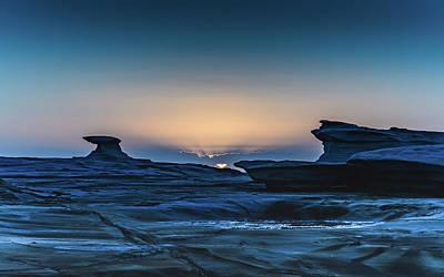 Sunrise And Rock Platform Landscape Art Print