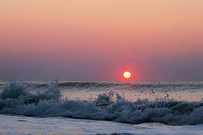 Photograph - Sunrise And Splashing Waves by Robert Banach