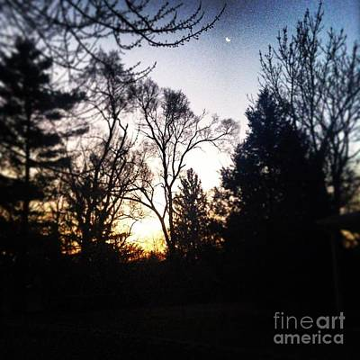 Frank J Casella Royalty-Free and Rights-Managed Images - Sunrise and the Moon by Frank J Casella