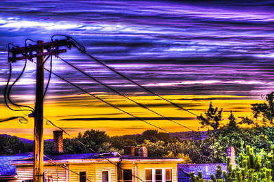 Telephone Poles Photograph - Sunrise by Andrew Kubica