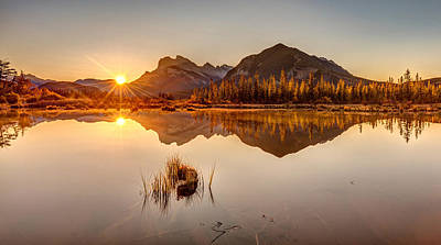 Photograph - Sunrise At Banff's Vermilion Lakes  by Pierre Leclerc Photography