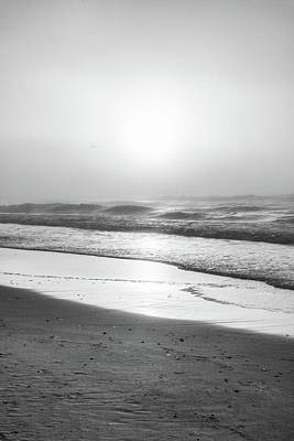 Print featuring the photograph Sunrise At Beach Black And White  by John McGraw