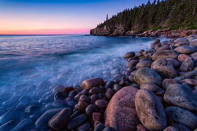 Photograph - Sunrise At Boulder Beach Acadia Np by Jeff Sinon
