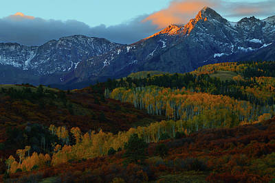 Art Print featuring the photograph Sunrise At Dallas Divide During Autumn by Jetson Nguyen