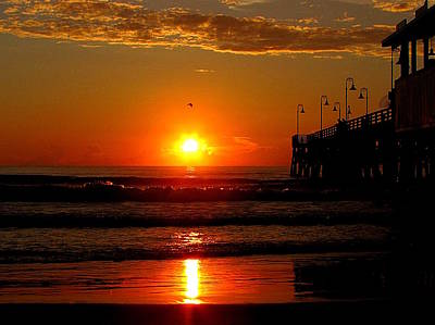 Photograph - Sunrise At Daytona Beach Pier  002  by Chris Mercer