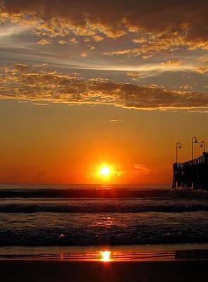 Photograph - Sunrise At Daytona Beach Pier  005  by Chris Mercer