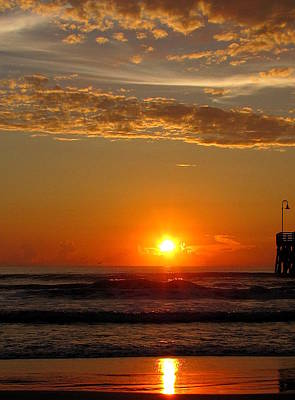 Photograph - Sunrise At Daytona Beach Pier  006  by Chris Mercer