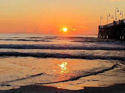 Photograph - Sunrise At Daytona Beach Pier  007  by Chris Mercer