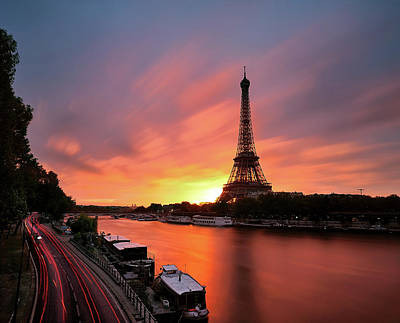 Lit Photograph - Sunrise At Eiffel Tower by © Yannick Lefevre - Photography