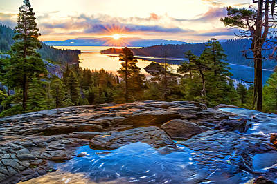 Photograph - Sunrise At Emerald Bay by Maria Coulson