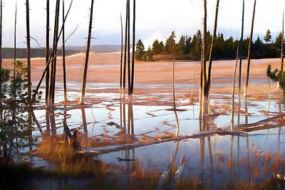 Sunrise At Fountain Paint Pots, Yellowstone National Park, Usa Art Print