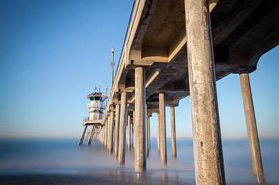 Print featuring the photograph Sunrise At Huntington Beach Pier by Sean Foster
