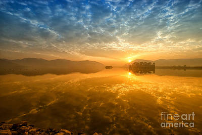 Sunrise At Jal Mahal Art Print