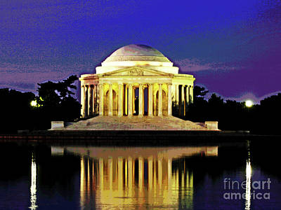 Sunrise At Jefferson Memorial Art Print by Larry Oskin