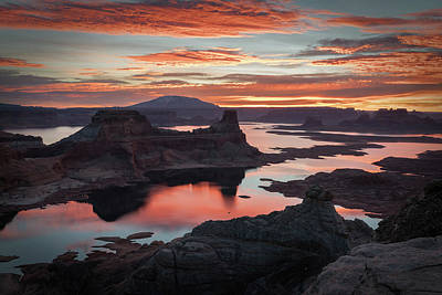 Water Reflections Photograph - Sunrise At Lake Powell by James Udall