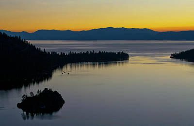 Deep Blue Photograph - Sunrise At Lake Tahoe - Emerald Bay - California by Brendan Reals