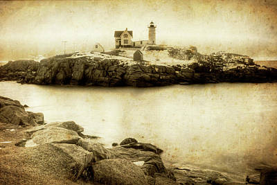 Photograph - Sunrise At Nubble Light York Me Cape Neddick Vintage Style by Toby McGuire