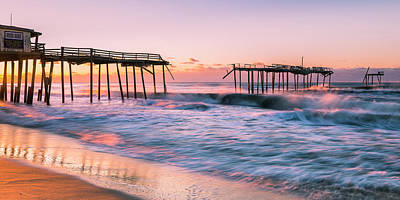 Photograph - Sunrise At Obx Frisco Pier Panorama by Ranjay Mitra