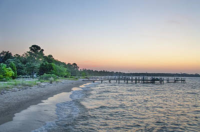 Pier Photograph - Sunrise At Piney Point Beach - Maryland by Bill Cannon