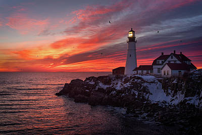 Portland Lighthouse Photograph - Sunrise At Portland Head Light by Jeff Bazinet