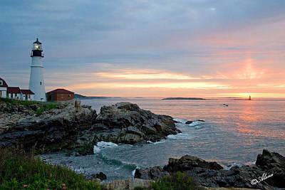 Photograph - Sunrise At Portland Head Lighthouse by Alana Ranney