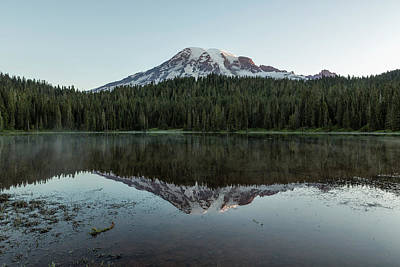 Photograph - Sunrise At Reflection Lake - Mount Rainier by Belinda Greb